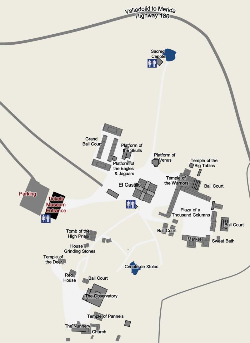 Chichén Itzá Interactive Map - Chichen itza map