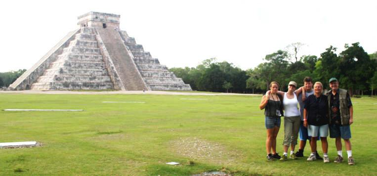 Dylan, Justine Adam, Doroty and bill pos in front of the Castille in Chichen Itza