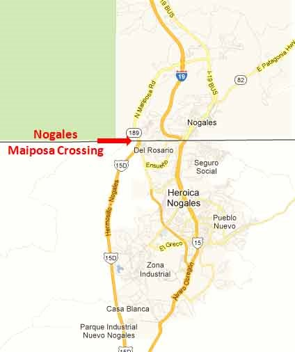 Nogales Sonora Mariposa Border Crossing - On The Road In Mexico