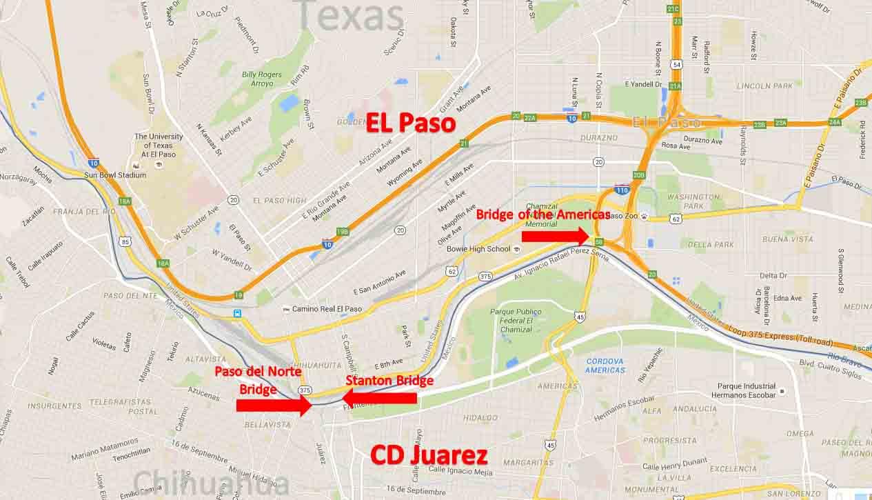 El Paso, Texas - Ciudad Juaez, Chihuahua Border Crossing | On The ...