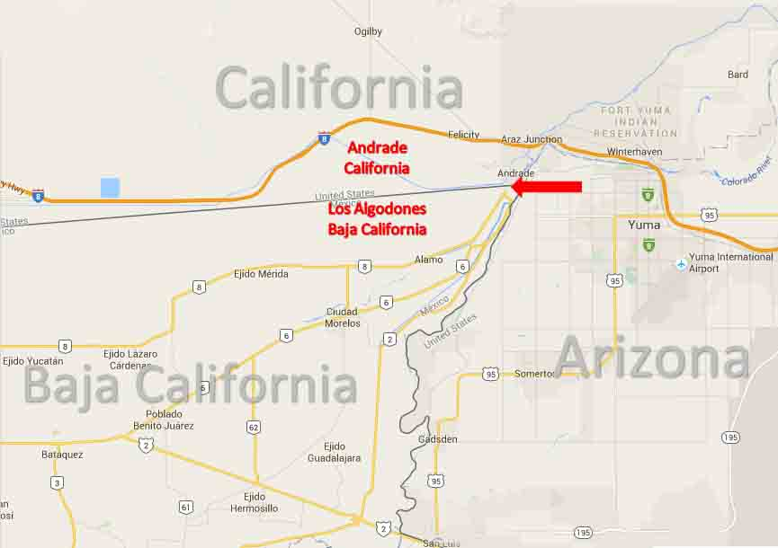 Los Algodones border map 1a