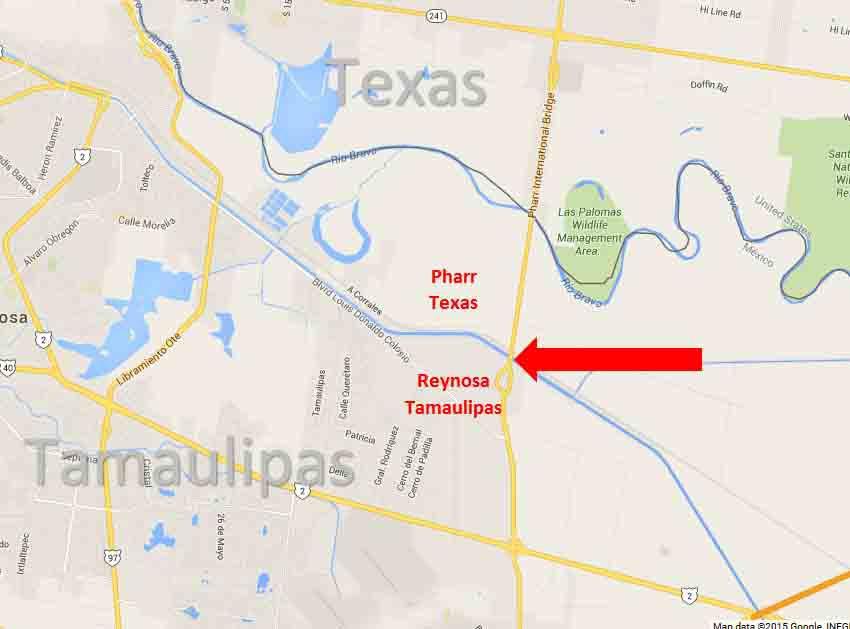 Pharr Texas Reynosa Tamaulipas Border Crossing On The Road In