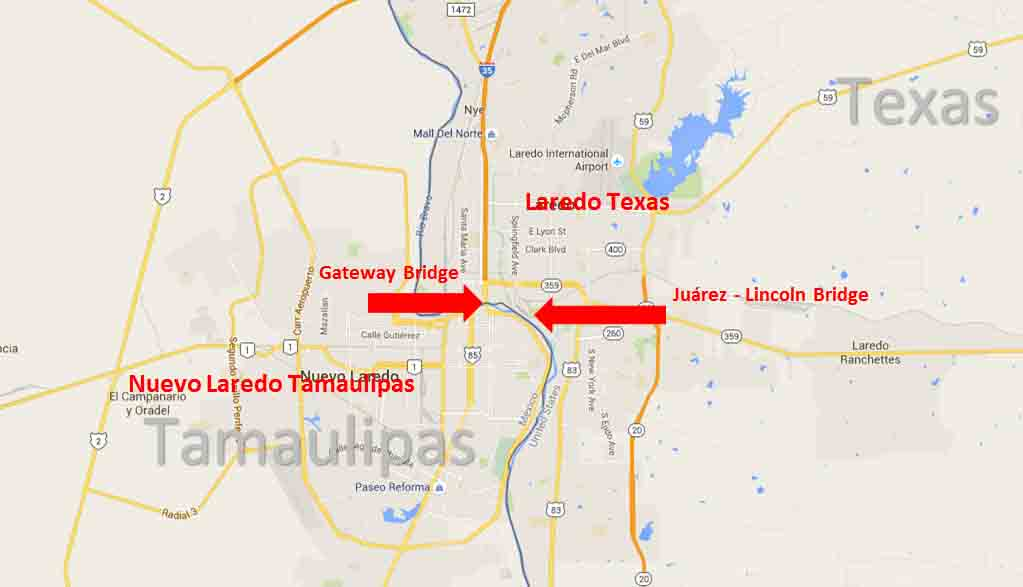 Laredo Texas Nuevo Laredo Tamaulipas Border Crossing On The