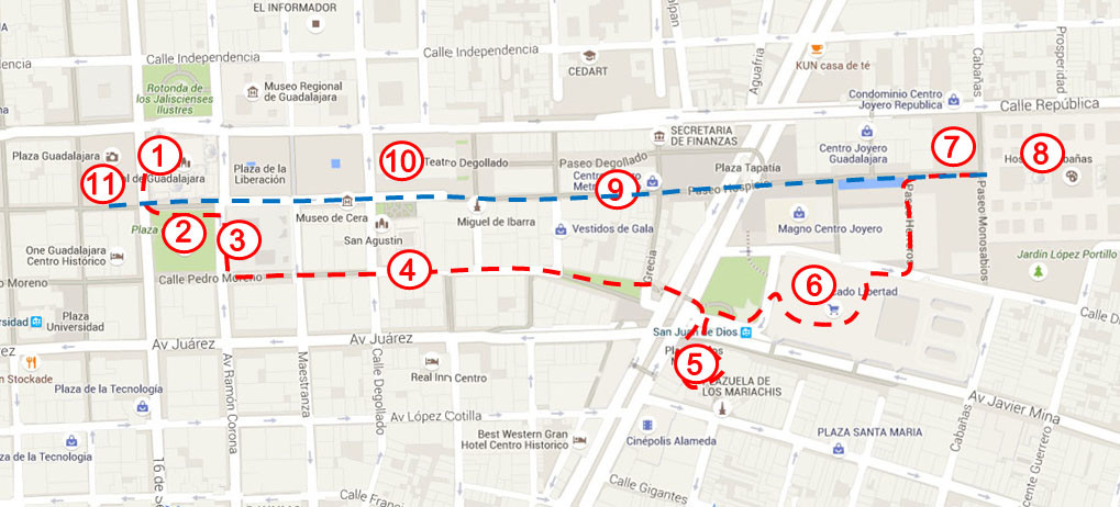 guadalajara walking tour map