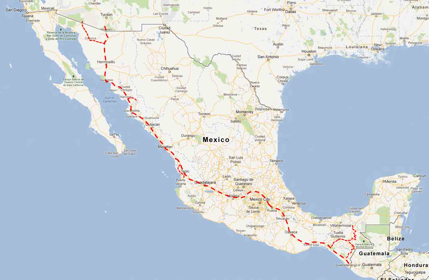 Mexico Road Logs – Nogales to Mexico City to Tapachula   On The