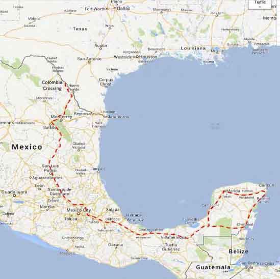 laredo to cancun map