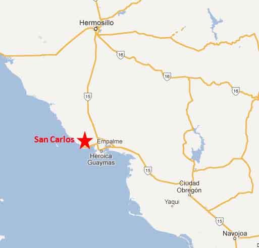 San Carlos Sonora Mexico Map.San Carlos Sonora Mexico