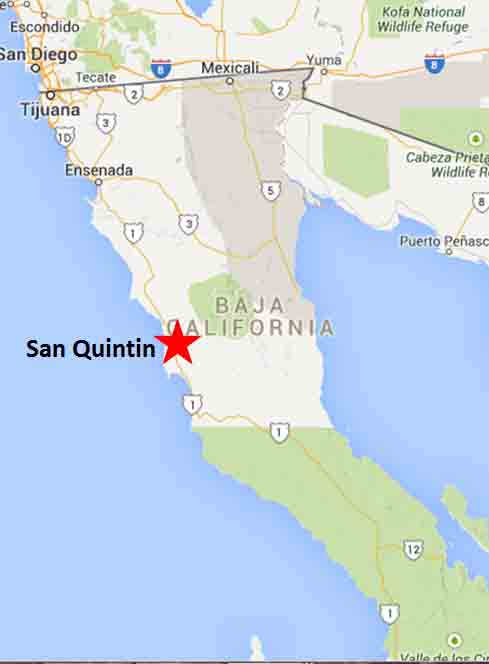 San Quintin Map On The Road In Mexico